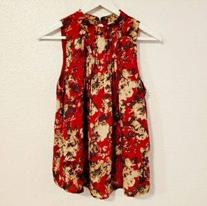Miss Me Red Floral Sleeveles Blouse Size S